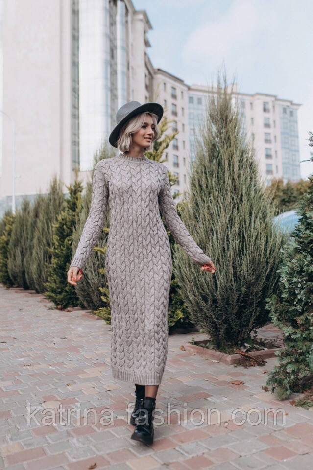 Женское вязаное платье-миди (3 цвета)