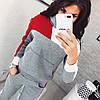 Молодежный теплый спортивный костюм с начесом женский: штаны и кофта с капюшоном и большим карманом спереди, фото 3