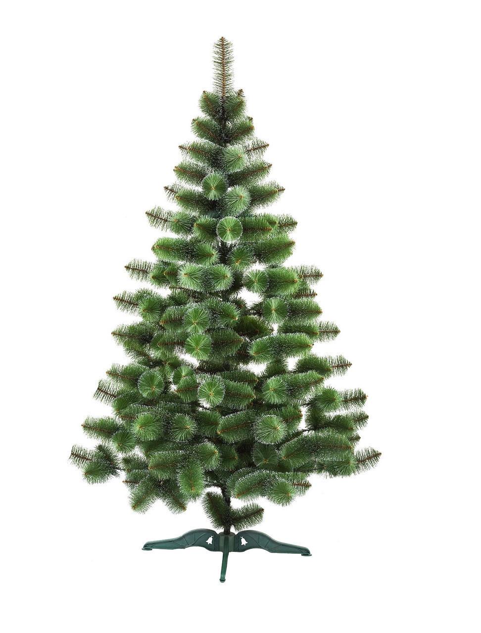 Сосна искусственная Bonita 2.1 м Новогодняя зеленая с белыми кончиками СШ-З-БК-2,10