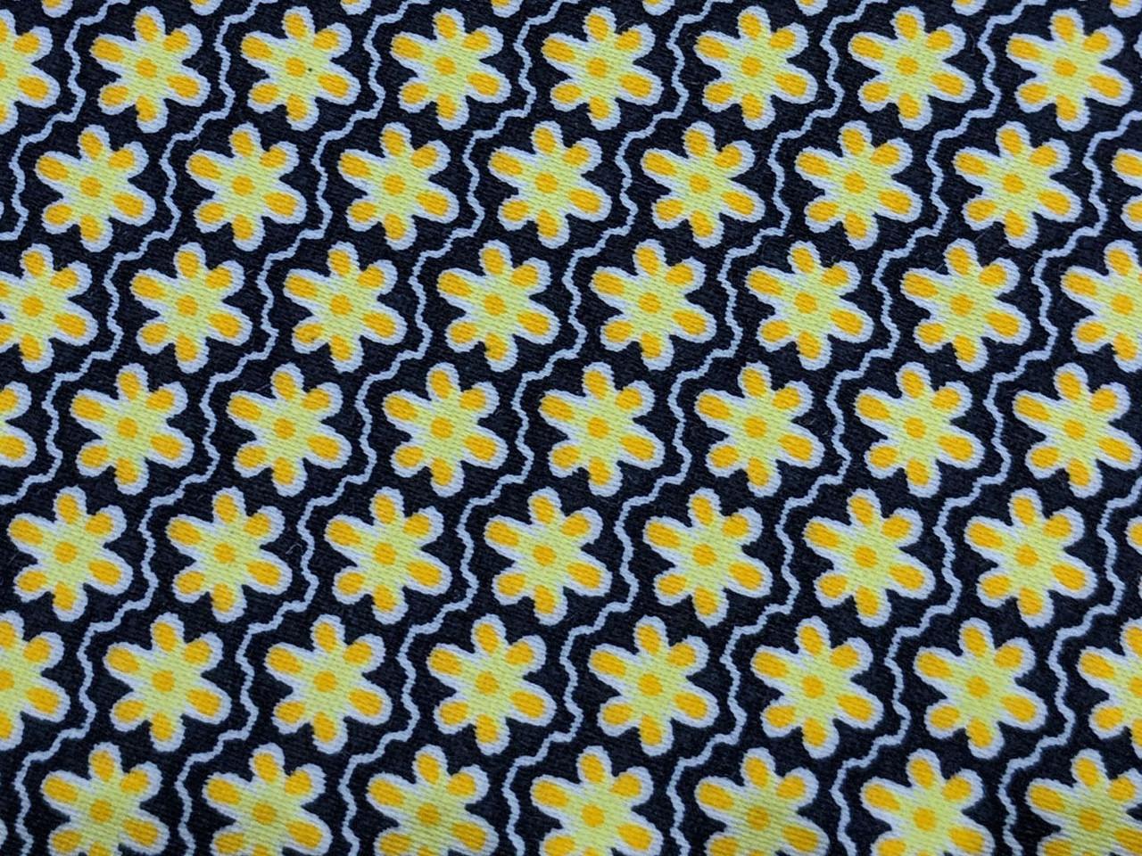 Коттон сатин принт мелкий цветочек, желтый