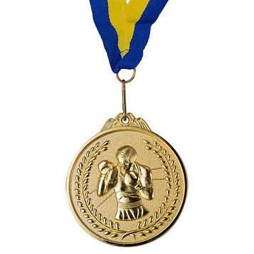 Медаль спортивна зі стрічкою Бокс (d-6,5 см,1-золото, 2-срібло, 3-бронза)
