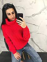 """Вязаный женский свитер """"Арчи"""", красный, фото 1"""
