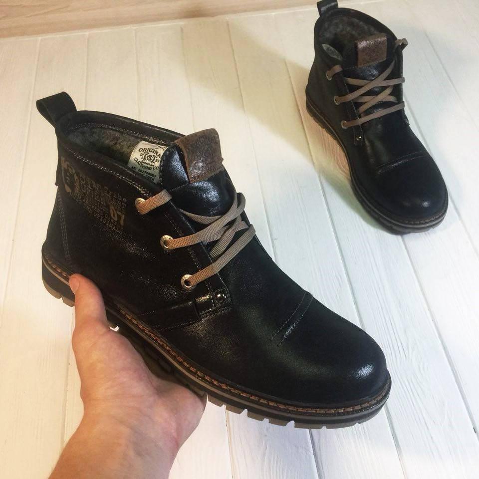 Мужские кожаные ботинки Desert Boot Clarks Black (зимние с мехом) (в стиле Clarks)