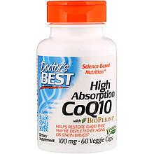 Doctor's Best, CoQ10, с BioPerine, 100 мг, 60 овощных капсул