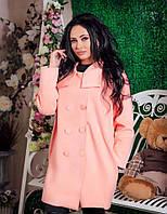 Женское кашемировое прямое пальто с интересным воротником