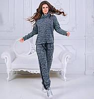 Женский спортивный костюм с лампасами на брюках и кофтой под горло, фото 1