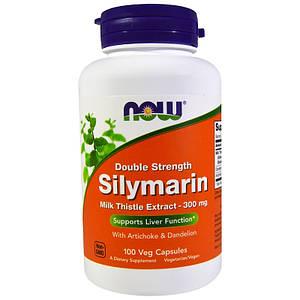NOW Silymarin 300 mg double strength 100 veg caps, НАУ Силимарин 300 мг 100 капсул