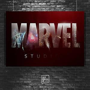 Постер Марвел, Marvel, логотип. Размер 60x40см (A2). Глянцевая бумага