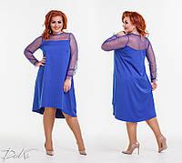 Женское платье с сеткой трапеция  р151391 (42-56), фото 1