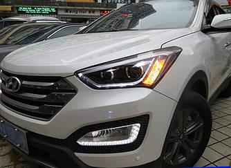 Передние фары LED тюнинг оптика Hyundai Santa Fe 3 (2012-2015) ксенон