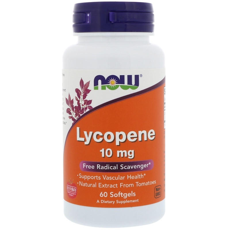 NOW Lycopene 10 mg 60 softgels, НАУ Ликопин 10 мг 60 софтельс