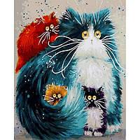 Картина раскраска по номерам на холсте 40*50см Babylon VP874 Мама кошка