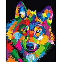 Картина раскраска по номерам на холсте 40*50см Babylon VP988 Радужный волк