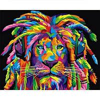 Картина раскраска по номерам на холсте 40*50см Babylon VP989H Радужный лев с дредами (горизонтальный)