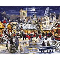 Картина раскраска по номерам на холсте 40*50см Babylon VP999 Рождество в городе