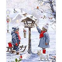 Картина раскраска по номерам на холсте 40*50см Babylon VP1001 Кормушка для птиц