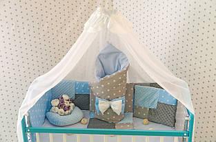 Детское постельное белье Минки серо-голубой