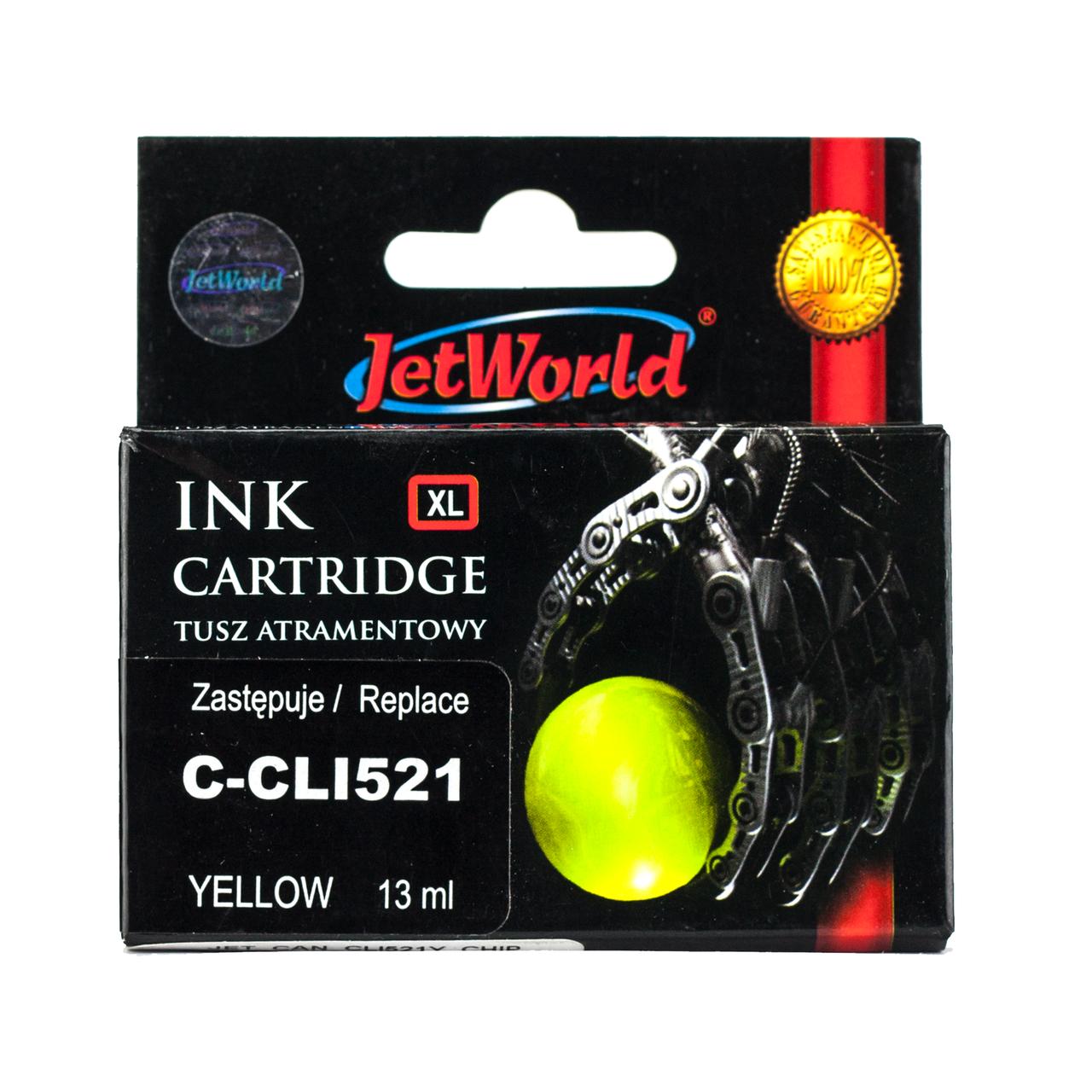 Картридж JetWorld Canon CLI-521Y Yellow для MP540/MP620/MX860