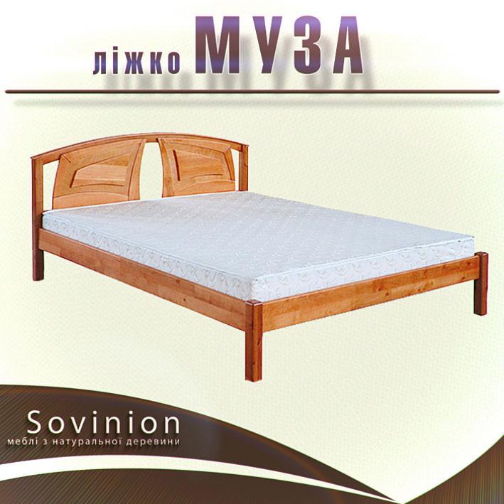 Ліжко півтораспальне з натурального дерева в спальню, дитячу Муза 140*200 Sovinion