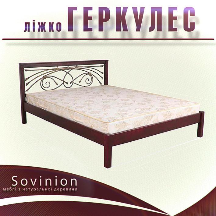 Ліжко двоспальне з натурального дерева в спальню Геркулес 160*200 Sovinion
