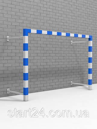 Ворота для минифутбола и гандбола пристенные разборные с полосами, фото 2