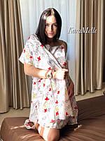 Женский набор пеньюар и халат в принт 51PI67, фото 1