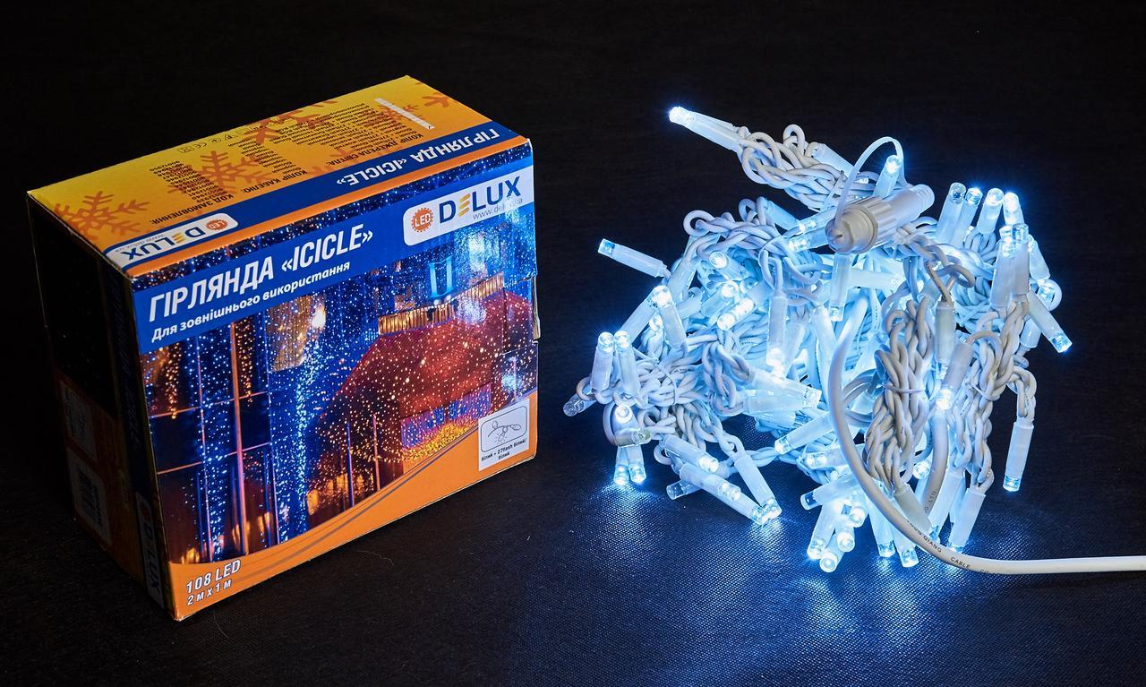 Светодиодная гирлянда DELUX Icicle 27 flash 2 х 1м 108LED Белый/Белый