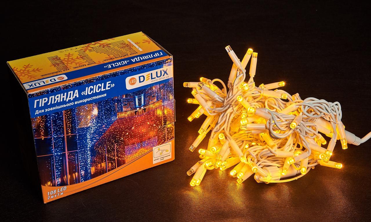 Светодиодная гирлянда DELUX Icicle 27 flash 2 х 1м 108LED Желтый/Белый