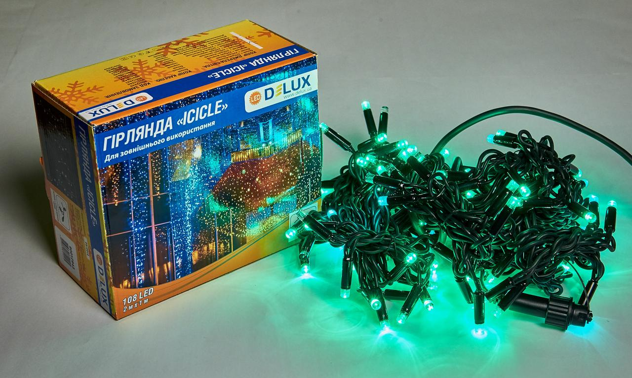 Светодиодная гирлянда DELUX Icicle 27 flash 2 х 1м 108LED Зеленый/Черный