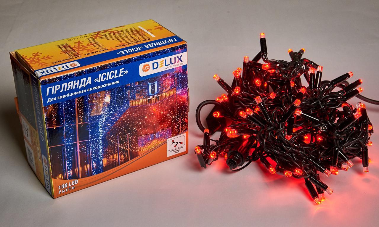 Светодиодная гирлянда DELUX Icicle 27 flash 2 х 1м 108LED Красный/Черный