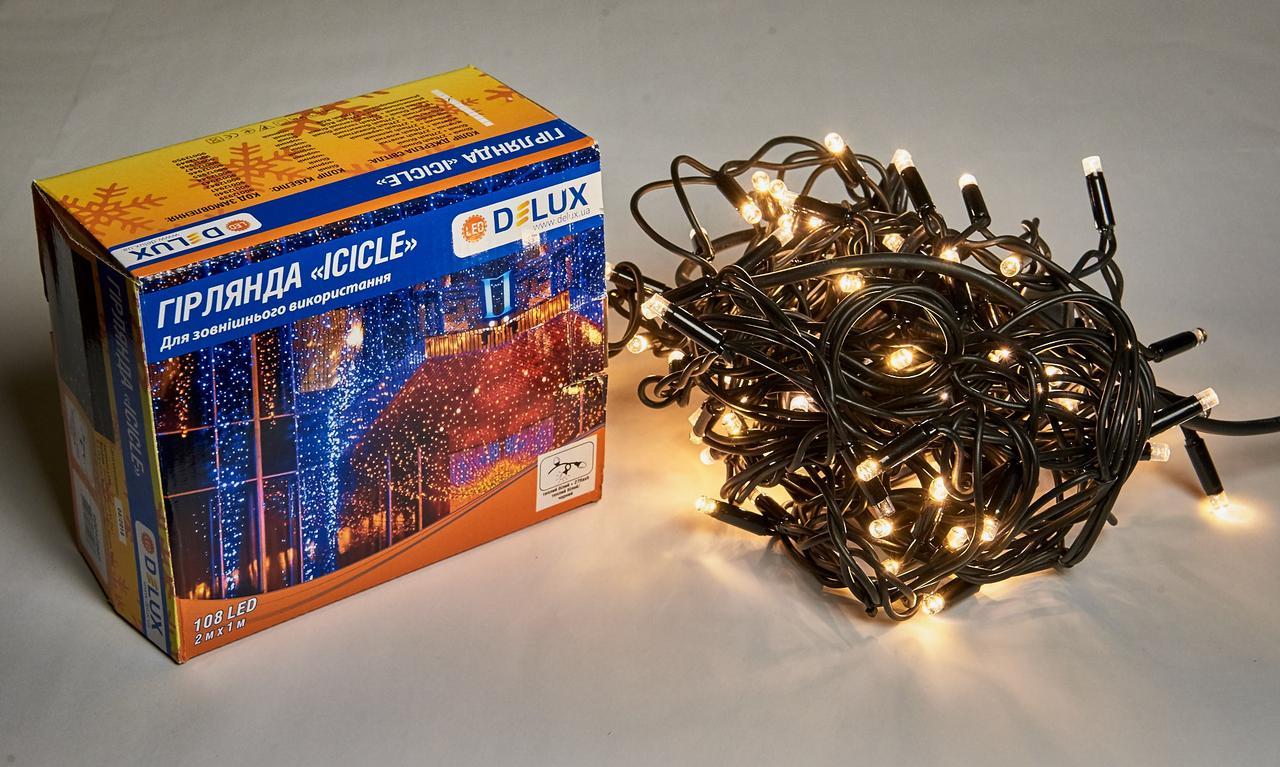Светодиодная гирлянда DELUX Icicle 27 flash 2 х 1м 108LED Теплый белый/Черный