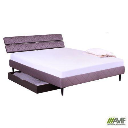 Ліжко (Кровать) дерев'янне Бізе 160х200 тканина Тіана атлас 7 ніжки конусоподібні венге AMF