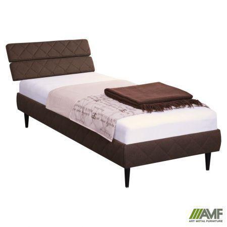 Ліжко (Кровать) дерев'янне Бізе 160х200 узголів'я тканина Фортуна 46, ніжки букові конусоподібні венге AMF