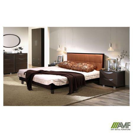 Ліжко (Кровать) дерев'янне Мадлен 160х200 горіх темний/Неаполь N-26, ніжки конічні бук AMF