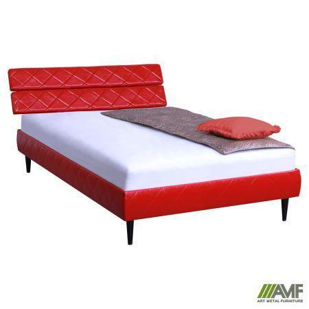Ліжко (Кровать) дерев'янне Бізе Скаден червоний, ніжки букові конус венге AMF