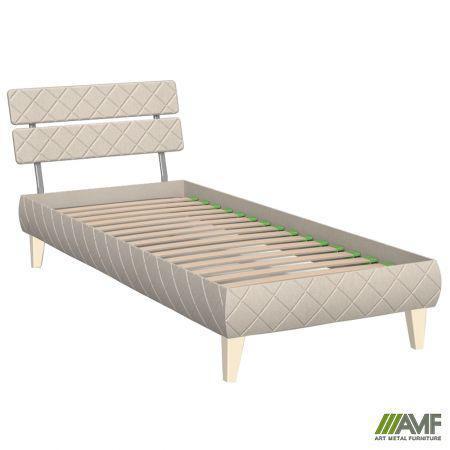 Ліжко (Кровать) Бізе 80х200 тканина Сідней 11, ніжки букові трапеція ваніль AMF