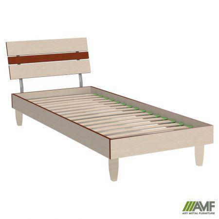 Ліжко (Кровать) Прагматик 80х200 мікс дуб молочний+яблуня, ніжки букові пелюстка дуб білений AMF