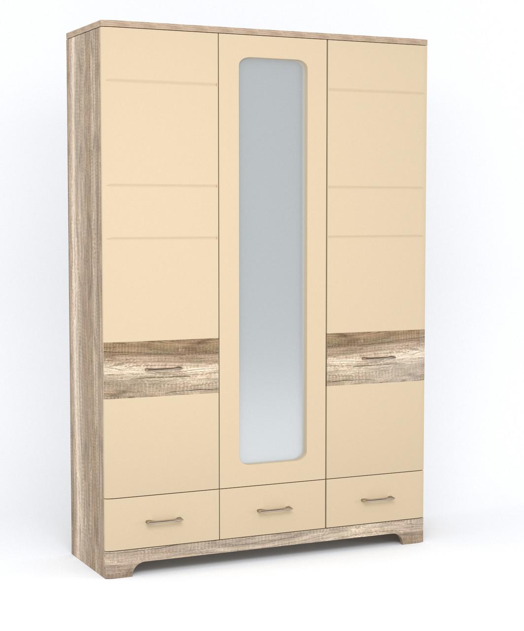 Шафа (шкаф) з ДСП/МДФ в спальню/вітальню/дитячу розпашна 3Д3Ш Mulatto H Blonski