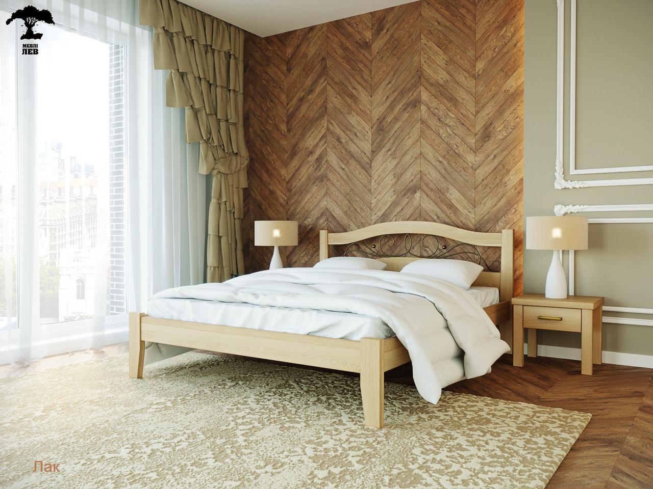 Ліжко двоспальне з натурального дерева в спальню змасиву бука Афіна 1 160х190 Лев