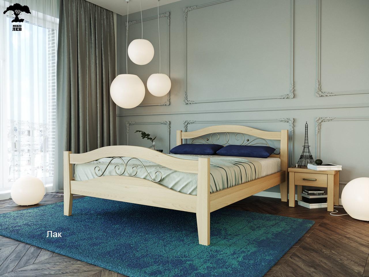 Ліжко двоспальне з натурального дерева в спальню змасиву бука Афіна 2 160х190 Лев