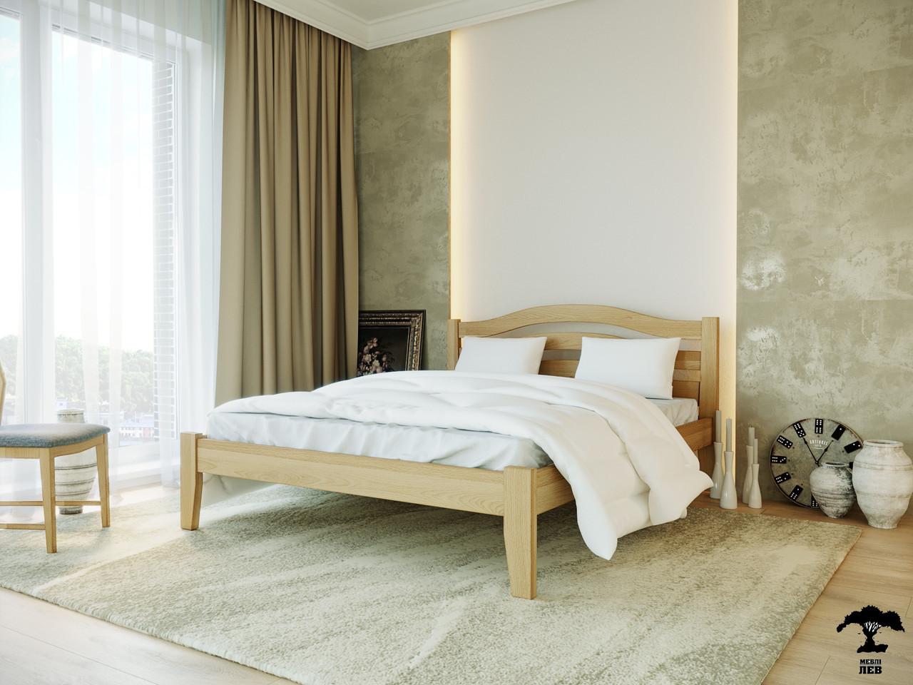 Ліжко двоспальне з натурального дерева в спальню змасиву бука Афіна нова 160х190 Лев