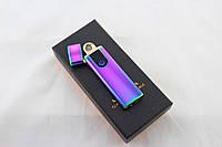 Электроимпульсная зажигалка Violet2 752 USB, металл, 57*37*13мм, фиолетовая, в подарочной упаковке, импульсная зажигалка