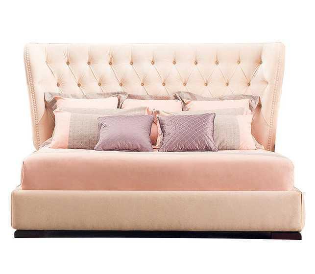 Ліжко з м'якою спинкою з підйомним механізмом Ванесса (180 х 200) КІМ