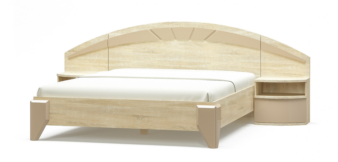 Ліжко двоспальне в спальню з ДСП i МДФ Аляска Мебель Сервіс