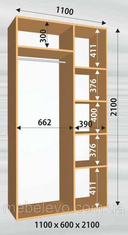 Шкаф-купе 2 двери Стандарт 110х60 h-210, ТМ Феникс