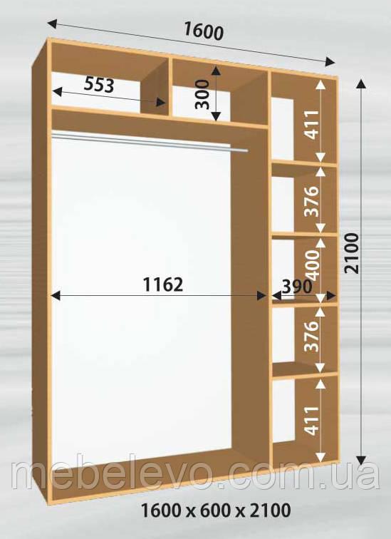 Шкаф-купе 2 двери Стандарт 160х60 h-210, ТМ Феникс