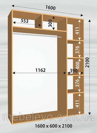 Шкаф-купе 2 двери Стандарт 160х60 h-210, ТМ Феникс, фото 2