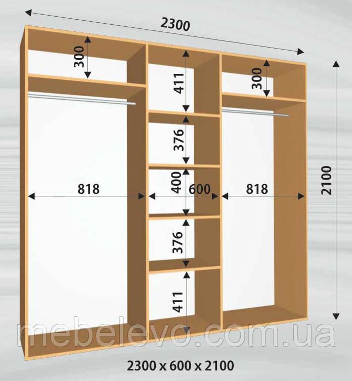 Шкаф-купе 3 двери Стандарт 230х60 h-210, ТМ Феникс