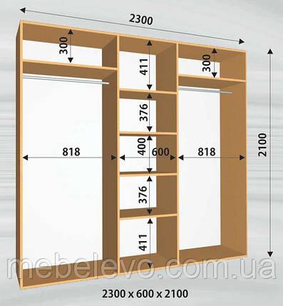 Шкаф-купе 3 двери Стандарт 230х60 h-210, ТМ Феникс, фото 2