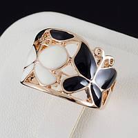 Обалденное кольцо с эмалью и золотым покрытием 0358 19 Черный